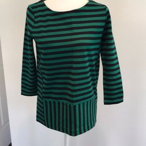 Madewell green and navy striped top